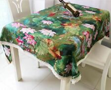 Tablecloth Rectangle Shape Cotton Fabric Floral Printed Party Decor