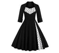 Women Fashion White Black Color Vintage Polka Dot Patchwork Mid Calf Dress