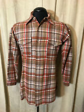 Mens Vtg 1960s Pendleton Shirt Brown Plaids Size M  Long Sleeve 100% Wool