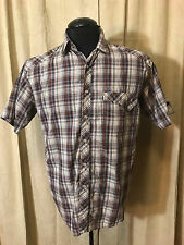 Mens Dickies Western Shirt M Brown Plaids Short Sleeve poly/cotton Rockabilly