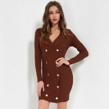Women Black Brown Color Button Decorated Full Sleeve Bodycon Mini Dress