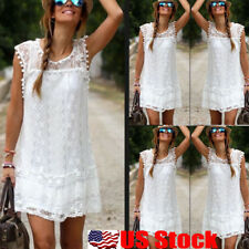 Womens Lace Bodycon Sleeveless Summer Cocktail Evening Party Short Mini Dress US