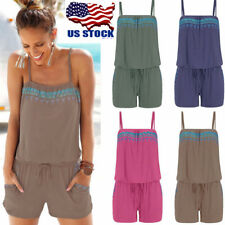 Summer Women Sleeveless Sling Romper Beach Playsuit Clubwear Shorts Jumpsuit USA