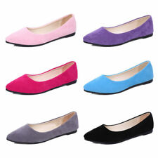 Women's Casual Party Suede Flat Sole Pointed Toe Ballet Pumps Shoes Loafers Size