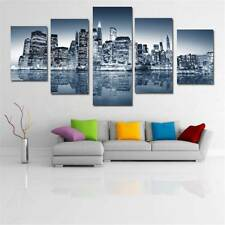 Silver Home Decor City Reflection Huge Wall Art Oil Painting On Canvas Frameless