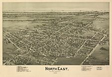 Poster Print Antique American Cities Towns States Map North East Pennsylvania