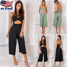 Women V-neck Backless Jumpsuits Casual Loose Wide Leg Pants Sleeveless Romper US