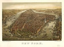 Poster Print Antique American Cities Towns States Map New York