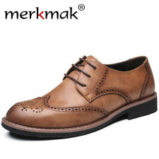 Merkmak New 2018 Men Dress Shoes Formal Wedding Genuine Leather Shoes Retro
