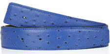 Electric Blue Ostrich H Belt Reversible Leather Strap without Buckle 40mm