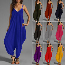 Long Womens Sleeveless Baggy Loose Harem Jumpsuit Playsuit Pants Trouser Dress