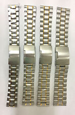 Two Tone Stainless Steel Linked Braclet Solid Metal Watch Band Size 18MM - 24MM
