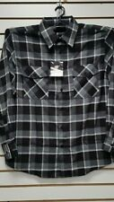 Mens Yago Longsleeve Button Down Plaid Flannel Collar Shirt in Black & Gray