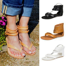 Women Flat Gladiator Ankle Strap Flip Flop Strappy Sandals Bohemian Casual Shoes