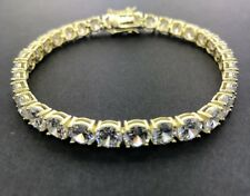 .925 Sterling Silver CZ Round Cut Yellow Gold Plated Tennis Bracelet- 6mm