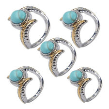 Size 6-10 Elegant Women Jewelry Feather Gold Silver Turquoise Plated Ring Gift