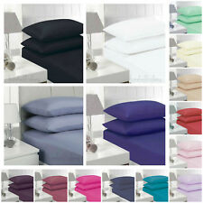 New Plain Dyed Fitted Sheet Poly Cotton Bed Bedding Sheets Single Double King