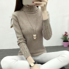 Women's Fashion Slim Fit Warm neck Knitted Sweater Classic Pullover Tops Jumper
