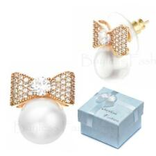Buyless Fashion Hypoallergenic Surgical Steel Dangle Stud Bow Pearl Earrings In