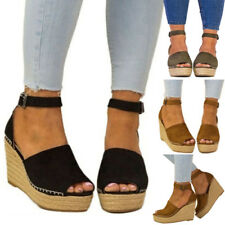 Women Ankle Strap Open Toe Wedge Sandal Espadrilles Platform High Heels Shoes #1