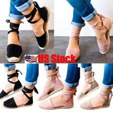 Womens Flat Lace Up Espadrille Sandals Ankle Strappy Party Summer Shoes Size USA