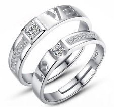 Glamour Couples Opening Adjustable Size 925 Silver Plated Band Ring Gift ET1124