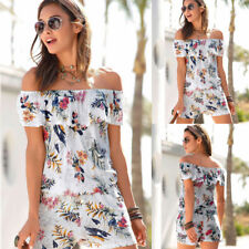 Womens Floral Off Shoulder Ruffle Jumpsuit Rompers Summer Holiday Short Playsuit