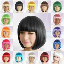 Ladies Womens Fashion Short Bob Style Full Wigs With Bangs Fancy Dress Party Tyn