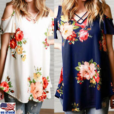 Women's Cold Shoulder Short Sleeve Floral Print T Shirt Tops Summer Beach Blouse