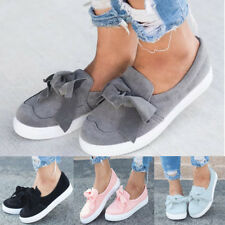 Women Bowknot Classics Loafers Canvas Slip-On Flats Shoes Casual Lazy Shoes Size