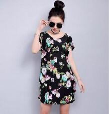 Women Short Sleeve Round Neck Floral Printed Straight Above Knee Length Dress