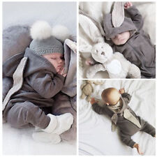 HOT! Newborn Infant Baby Girl Boy Clothes Cute 3D Bunny Ear Romper Jumpsuit