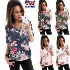 Casual Women's V-Neck Zipper Floral Chiffon Shirt Ladies Long Sleeve Tops Blouse