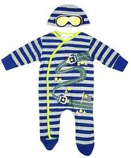 Boys Baby Racing Motor Car Sleepsuit Romper & Hat Set Newborn to 9 Months