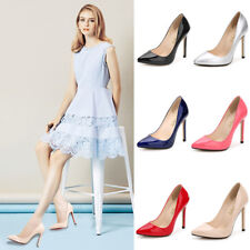 WOMEN LADIES COURT SHOES High Heel Patent Leather Stiletto Office Pumps All Size