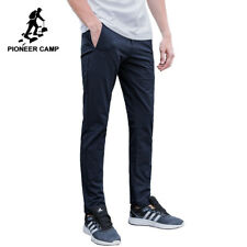 Men Long Pants Trousers Slim Fit Casual Solid Polyester Spandex Outdoor Wear Fit