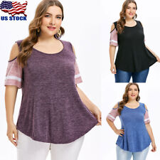 Plus Summer Womens Striped Cold Shoulder Tops Blouse Ladies Short Sleeve T-Shirt