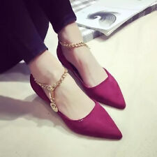 Womens Flats Loafers Korea Pointed Toe Ballet Ankle Chain Strap Shoes Suede New