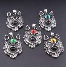 Retro Charm Men Retro Stainless Steel Wolf Head Eyes Pendant Necklace Chain Gift