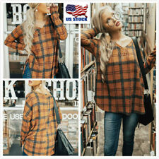 Women Long Sleeve Plaid Check Tunic Top Ladies Casual Loose Blouse Shirt T-Shirt