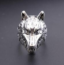 Fashion Punk Rock Man Stainless Steel Wolf Head Band Biker Rings Charm Jewelry