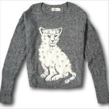NWT Hollister by Abercrombie&Fitch Snow Leopard Intarsia Sweater M L Grey