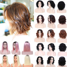 Deluxe Lace Front Wig Short Bob Wavy Curly Women Cosplay Anime Wig Ombre Hair Rf