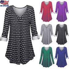 Women's Long Sleeve V Neck Polka Dot Print Casual Loose Tunic Top Blouse T Shirt
