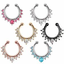 Color Faux Fake Septum Nose Ring Non Piercing Clicker Crystal Clip On Gold Silve