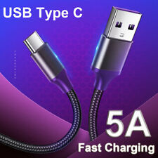 Braided 5A USB C Type C Fast Charging Data Sync Charger Cable for Samsung Huawei