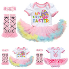 1st Easter Rabbit Eggs Baby Girl's Romper Dress Leg Warmers 3PCS Outfits Clothes