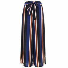 Women Loose High Waist Polyester Striped Side Split Casual Palazzo Pant