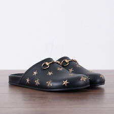 GUCCI 695$ Authentic New Horsebit Embroidered Leather Slipper