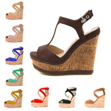 Onlymaker Women's Wedge High Heel Platform Sandals Ankle Strap Party Suede Shoes